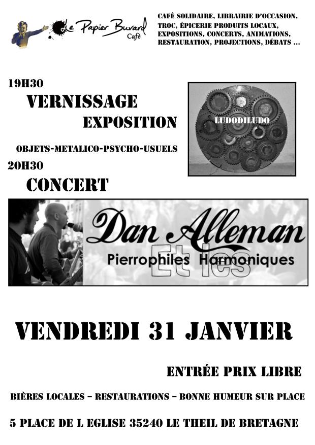 31 janvier 2014 - Concert DAN ALLEMAN - exposition LUDODILUDO - dédicace Pascale Le Moël